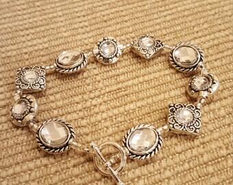 """7 1/2"""" Framed crystal bracelet w/ toggle clasp"""