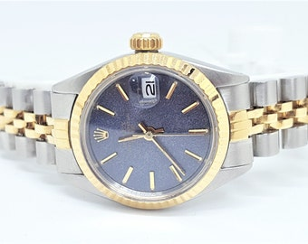 Pre-Owned Vintage 1969 Rolex Datejust 6916 Two-Tone 18K Fluted Bezel Blue Dial Automatic Women's Watch