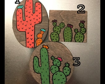 Cactus Wood Magnets