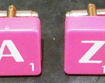 Scrabble Tile Cufflinks - Hot Pink