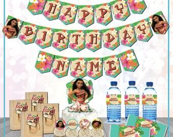 Moana Party Supplies customizable Digital Download Printable Moana Birthday