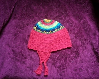 Crochet Kids Hat Cotton Pink