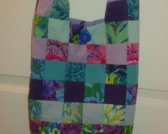Teal flower hobo boho crossbody saddlebag patchwork fabric purse bag