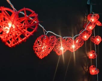 Red String Lights For Bedroom : Rattan string lights Etsy