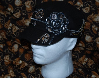 ladies up cycled black steampunk hat