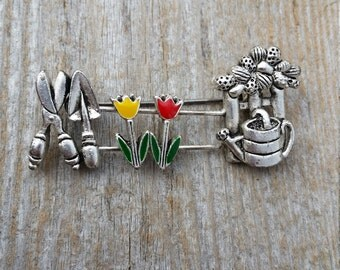 Pewter Gardening and Tulip Brooch