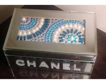 Chanel Designer inspired mirrored jewelry box