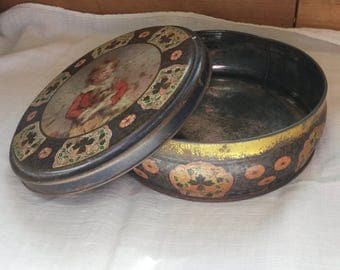 Round Biscuit Tin, Vintage, French Tin, Old Storage Tins, Dog, 1940s Tins, Rustic Decor