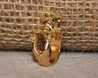 Bronze bull dog rose ring