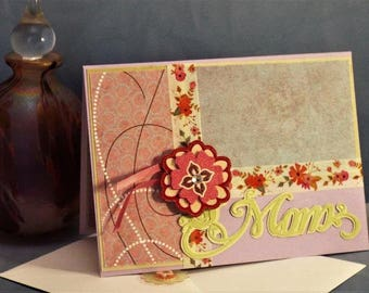 "For ""Mom"" this unique and charming handmade card will make Mom feel loved for sure with matching envelope"