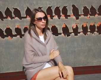 knit sweater,  light beige, cacao, mohair, mohair sweater, knit, knitwear,mohair t-shirt, light beige sweater, lightweight kardigan