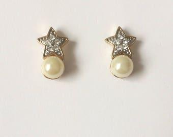 Vintage 1980's Pearl & Rhinestone Star Studs Earrings