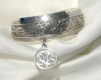 Tibetan Silver Lotus with Phoenix Rising Bangle Cuff Bracelet
