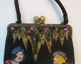 Vintage Revamp~Hand Painted purse by artist Rosemary Fox~Whimsical Diva~One of a Kind