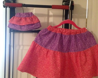 Girl and 18 in. doll matching skirts. Size 8 elastic waistband