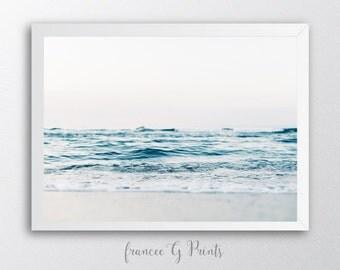 Ocean PRINTABLE  Art,  Nordic Art Print Scandinavian Art Print  Minimalist Art Beach Shore Wall Art Digital Ocean Photography, home decor