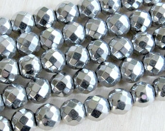 6mm faceted silver Hematite, magnetic hematite, full strand, silver plated, 6mm round beads, jewelry supplies, mala beads, Jewelry supplies