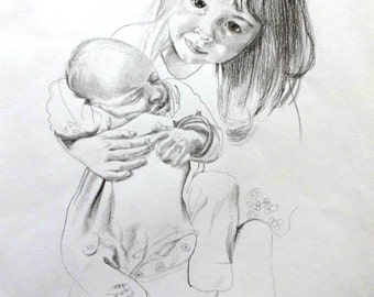 Pencil drawing siblings 2