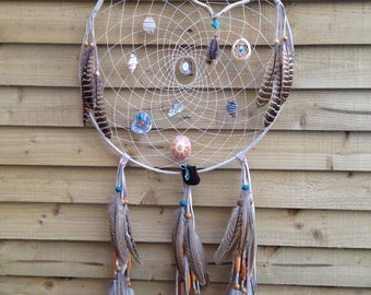 Large Authentic  leather dream catcher.