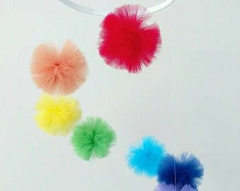 Rainbow Baby Mobile Pom Pom Mobile Gender Neutral Baby Mobile Baby Boy Decorations Baby Girl Decorations Nursery Decor Baby Gifts