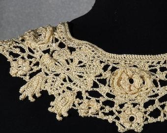 Irish lace crochet  collar. Necklace collar.Viskoza. The collar of the dress.