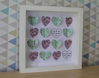 Hearts Picture Personalised I 14 heart design I Handmade Heart Art I Gift for her I 23cm x 23cm Black or White Box Frame