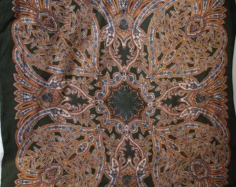 Vintage Golden Camel Dark Green Symmetrical Large Square Scarf