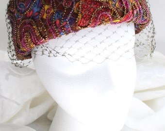 Vintage Pillbox Hat with Psychelic Pattern, Seed Beading, and Net