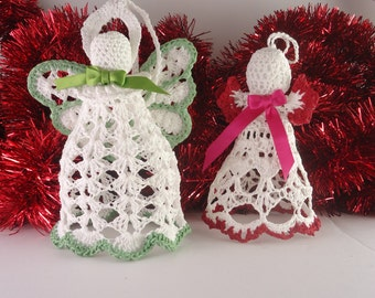 Christmas Ornament, Angel Hanging Ornament, Crochet Angel, Angel Hanging Decor (Set of three)