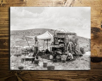 Cowboy Photo, American West, with Chuck Wagon and Sleeping Friend, Southwest, Black and White, Gift For Him, Father's Day
