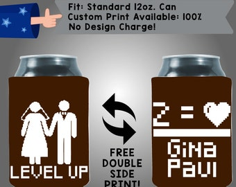 Level Up Names Neoprene Wedding Can Cooler Double Side Print (W196)