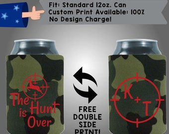 The Hunt Is Over Initials Collapsible Fabric Wedding Cooler Double Side Print (W57)