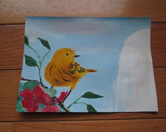 Warbler by waterfall (greeting card)