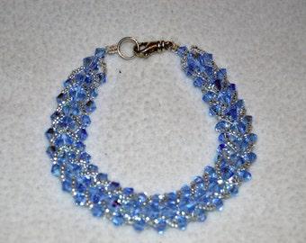 Swarovski Hand Sewn Aquamarine Bracelet