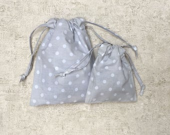 smallbags - Pearl gray fabric with white polka dots - 2 sizes - cotton bags