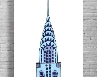 Chrysler Building Print, NYC Print, NYC Illustration, Chrysler Illustration, NYC Wall Art, Chrysler Building Drawing