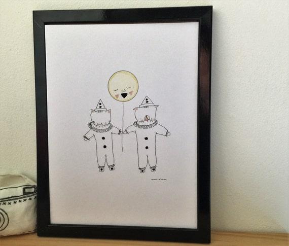 "Graphic poster ""Choumi et Michou Pierrots"" - graphic design poster."