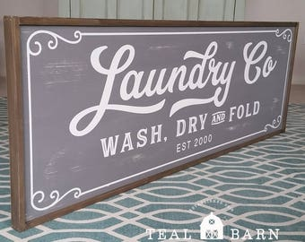 Laundry Co Wash Dry and Fold PERSONALIZED Sign  --  Magnolia Fixer Upper Joanna