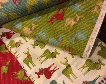 Christmas Fabric Reindeer 30262 Jovial by Moda Basic Grey - 100% Quality Cotton by FQ yd 1/2 yd or YARDAGE- Rare and OOP - 4 Colors