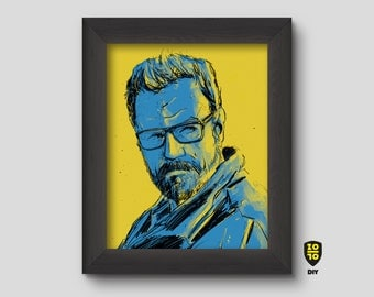Walter White Breaking Bad Chrystal Blue and Yellow Illustration by Alexander Fechner
