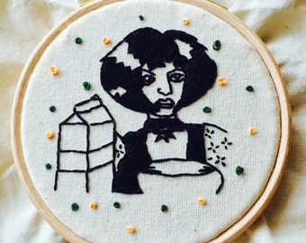 Mathilda. 4 inch embroidery hoop.