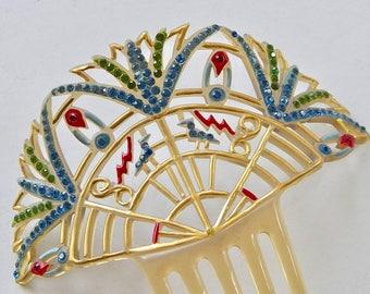 Egyptian Revival Art Deco Hair Comb 1920s Open Fan Hieroglyph Lotus Flowers Scarabs, Birds, Snakes, Multi Color Enamels & Rhinestones