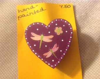 Hand-painted Wooden Heart Brooch Pin