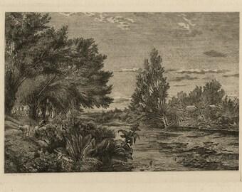 "CHARLES-FRANCOIS DAUBIGNY (French, 1817-1878), ""Environs de Choisy-le-Roi"", 1843, original etching."