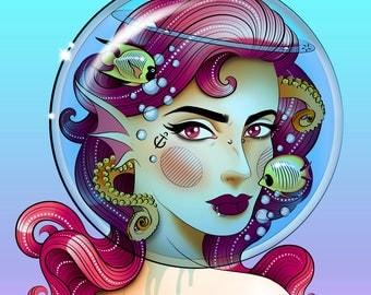 Mermaid Aquarium Fishbowl print