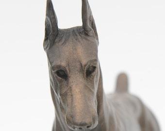Doberman Standing - Small Cold Cast Bronze Dog Statue