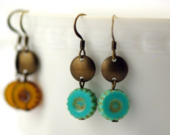 fine brass earrings in turquoise, cobalt or amber