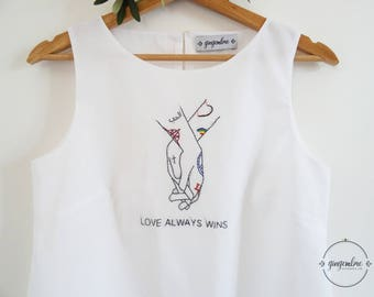 LOVE ALWAYS WINS tank top with embroidery