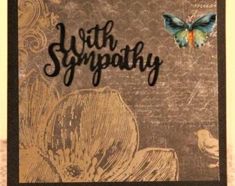 Sympathy Card, Butterfly card, Black gold card, Handmade card, Greeting Card, Handcrafted, With Sympathy card, Feminine card