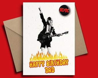 ACDC Angus Young Heavy Metal Personalised Birthday Card with Badge Option
